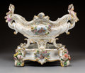 Ceramics & Porcelain, Continental:Antique  (Pre 1900), A Meissen Polychromed and Gilt Porcelain Basket on Stand with Central Vignettes After Boucher, Meissen, Germany, late 19th c... (Total: 2 Items)