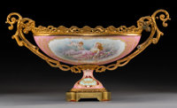 A Sèvres-Style Gilt Bronze-Mounted Porcelain Footed Centerpiece, France, circa 1900 11-3/4 x 22 x 10 inches (29.8...
