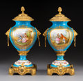 Ceramics & Porcelain, A Pair of Sèvres-Style Gilt Bronze-Mounted Porcelain Urns, France, circa 1900. Signed: Spiller. 18 x 9-3/4 x 7-1/4 inche... (Total: 2 Items)