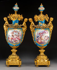 A Pair of Monumental Sèvres-Style Napoleon III Gilt Bronze-Mounted Porcelain Urns, France, circa 1870 29-1/2 x 11...