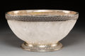 Decorative Arts, Continental:Other , A Silver-Mounted Carved Rock Crystal Center Bowl