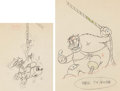Animation Art:Production Drawing, Building a Building Minnie Mouse and Peg Leg Pete AnimationDrawings Group of 2 (Walt Disney, 1933).... (Total: 2 Original Art)