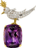 Estate Jewelry:Brooches - Pins, Amethyst, Diamond, Ruby, Platinum, Gold Brooch, Jean Schlumbergerfor Tiffany & Co.. ...