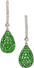 Estate Jewelry:Earrings, Diamond, Tsavorite Garnet, White Gold Earrings, Gismondi. ...