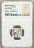 Ancients:Roman Imperial, Ancients: Tiberius (AD 14-37). AR denarius (18mm, 9h). NGC Fine....