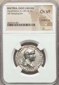 Ancients:Oriental, Ancients: INDO-GREEK KINGDOMS. Bactria. Apollodotus II (ca. 80-65 BC). AR Indic tetradrachm (27mm, 12h). NGC Choice VF, smoothing....