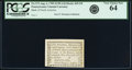 Colonial Notes:Pennsylvania, Pennsylvania Bank of North America August 6, 1789 1 Penny or $1/90Fr. PA-273, Haxby PA-465 G8, Newman page 364. PCGS Very Ch...