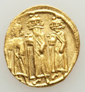 Ancients:Byzantine, Ancients: Heraclius (AD 610-641), with Heraclius Constantine andHeraclonas. AV solidus (20mm, 4.41 gm, 6h). NGC AU....
