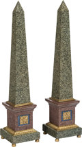 Decorative Arts, Continental:Other , A Pair of Neoclassical-Style Gilt Bronze-Mounted Marble Obelisks .33-3/4 x 7-1/4 x 7-1/4 inches x 18.4 x 18.4 cm) (each). ... (Total:2 Items)