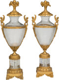 Decorative Arts, French:Other , A Pair of French Neoclassical-Style Gilt Bronze-Mounted Cut GlassUrns. 36 x 12-1/2 x 10-1/2 inches (91.4 x 31.8 x 26.7 cm)...(Total: 2 Items)