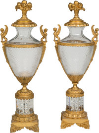 A Pair of French Neoclassical-Style Gilt Bronze-Mounted Cut Glass Urns 36 x 12-1/2 x 10-1/2 inches (91.4 x 31.8 x