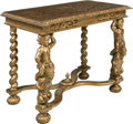 Furniture : Continental, A Continental Baroque Revival Figural Giltwood Console Table, late 19th century. 31 x 38 x 22 inches (78.7 x 96.5 x 55.9 cm)...