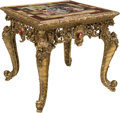 Furniture : French, A Louis XV-Style Gilt Bronze Table with Paint Decorated and Gilt Porcelain Panel . 27-1/2 x 30-3/4 x 30-3/4 inches (69.9 x 7...