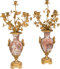 A Pair of Louis XV-Style Gilt Bronze and Onyx Five-Light Candelabra 30-1/2 x 13 x 13 inches (77.5 x 33.0 x 33.0 cm