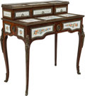 Furniture : Continental, A French-Inspired Mahogany and Porcelain Mounted Bonheur du Jour. 37 x 34 x 19-1/2 inches (94.0 x 86.4 x 49.5 cm). ...