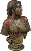 Bronze:European, A Large Cold Painted Bronze Bust of a Woman in Traditional Dress. 32 x 20 x 11 inches (81.3 x 50.8 x 27.9 cm). ...