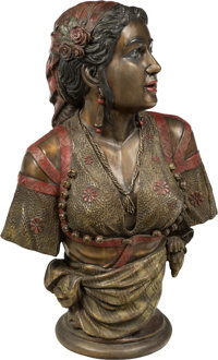 A Large Cold Painted Bronze Bust of a Woman in Traditional Dress 32 x 20 x 11 inches (81.3 x 50.8 x 27.9 cm)