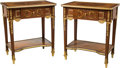 Furniture : French, A Pair of Louis XVI-Style Gilt-Metal Mounted and Marquetry Inlaid Tables. 30-3/8 x 26-1/8 x 18-1/4 inches (77.2 x 66.4 x 46.... (Total: 2 Items)