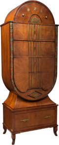 Furniture : Continental, A Baltic Biedermeier-Style Brass-Mounted Mahogany Secre´taire a` Abattant with Fitted Interior. 79-1/4 x 31 x 18 inches (201... (Total: 2 Items)