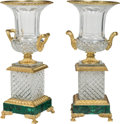 Decorative Arts, French:Other , A Pair of Napoleon III-Style Gilt Bronze-Mounted Cut Glass Urns onMalachite-Veneered Bases. 20-1/4 x 9-1/8 inches (51.4 x 2...(Total: 2 Items)