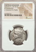 Ancients:Oriental, Ancients: PARTHIAN KINGDOM. Gotarzes II (ca. AD 44-51). BI tetradrachm (25mm, 12h). XF, graffito (NGC certified ungraded)....