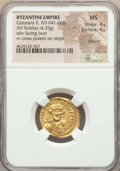 Ancients:Byzantine, Ancients: Constans II Pogonatus (AD 641-668). AV solidus (20mm,4.35 gm, 7h). NGC MS 4/5 - 4/5, clipped....
