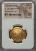 Ancients:Byzantine, Ancients: Constantine X Ducas (AD 1059-1067). AV histamenon nomismascyphate (26mm, 4.33 gm, 6h). NGC MS 4/5 - 5/5....