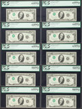 Error Notes:Inverted Third Printings, Fr. 2023-D $10 1977 Federal Reserve Notes. Ten Consecutive PCGSGraded Examples. . ... (Total: 10 notes)