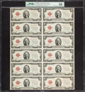 Small Size:Legal Tender Notes, Fr. 1504 $2 1928C Legal Tender Notes. Uncut Sheet of Twelve. PMG Choice About Unc 58.. ...