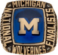 Basketball Collectibles:Others, 1993 University of Michigan Wolverines Final Four Ring - From Infamous Webber Time Out Season. ...