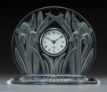 Clocks & Mechanical:Clocks, A Lalique Iris Pattern Clear and Frosted Crystal Clock, late 20th century . Marks to face: LALIQUE, SWISS. 6...