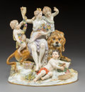 Ceramics & Porcelain, Continental:Antique  (Pre 1900), A Meissen Polychromed and Gilt Figural Group Depicting Earth, Meissen, Germany, late 19th century . Marks: (crossed swords i...