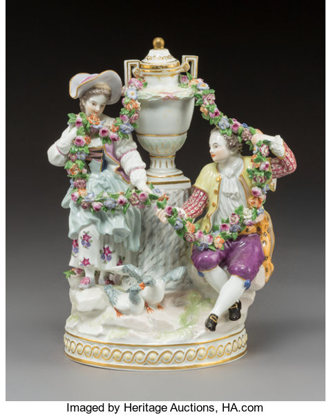A Meissen Polychromed and Gilt Porcelain Figural Group