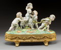 Ceramics & Porcelain, A Höchst Polychromed Porcelain Figural Group on Gilt Bronze Stand, Mainz, Germany, second half 18th century . Marks: (wheel ... (Total: 2 Items)