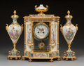 Decorative Arts, French:Other , A Three-Piece Louis XVI-Style Gilt Bronze, Porcelain, and ChampleveEnamel Clock Garniture, France, late 19th century . Mark... (Total:3 Items)