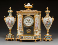 A Three-Piece Louis XVI-Style Gilt Bronze, Porcelain, and Champleve Enamel Clock Garniture, France, late 19th century