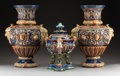 Ceramics & Porcelain, A Three-Piece Group of Continental Renaissance Revival-Style Majolica, late 19th century . Marks to covered urn: 1053, (... (Total: 3 Items)