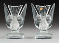 Decorative Arts, French:Other , A Pair of Lalique Hirondelle Pattern Crystal Bookends,post-1945. Marks: LALIQUE FRANCE. 6-1/4 x 4-1/8 x 3-1...(Total: 2 Items)
