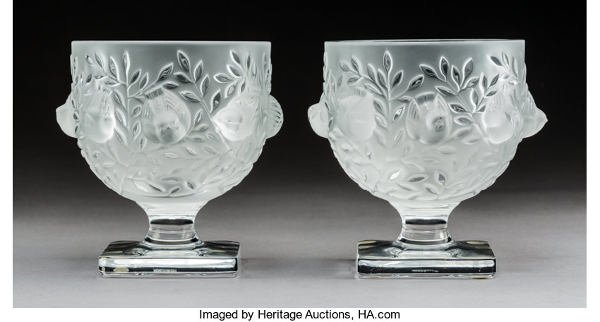 A Pair Of Lalique Elizabeth Pattern Clear And Lot 64154