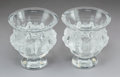 Decorative Arts, French:Other , A Pair of Lalique Dampierre Pattern Clear and Satin-FinishedCrystal Vases, post-1980. Marks: Lalique, (R in... (Total: 2Items)