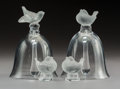 Decorative Arts, French:Other , A Pair of Lalique Clear and Frosted Crystal Bells with Pair of BirdFigurines, post-1945. Marks: Lalique France. 5-1/2 x...(Total: 4 Items)