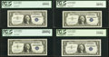 Small Size:Silver Certificates, Fr. 1621 $1 1957B Silver Certificates. Eight Different PCGS Graded Blocks.. ... (Total: 8 notes)