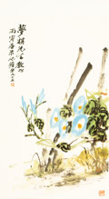 Asian:Chinese, Zhu Qizhan (Chinese, 1892-1996). Morning Glories, 1986. Inkand color on washi paper. 32-3/4 x 19-3/4 inches (83.2 x 50....