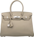 "Luxury Accessories:Bags, Hermes 30cm Sage Togo Leather Birkin Bag with Palladium Hardware. X, 2016. Condition: 1. 11.5"" Width x 8"" Height x..."