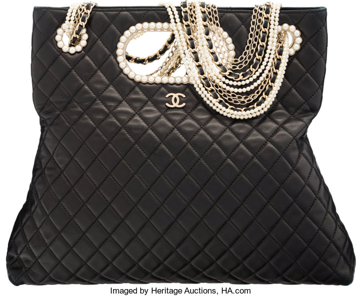 d440070cd92b Luxury Accessories:Bags, Chanel Black Quilted Lambskin Westminster Pearls  Convertible Totewith Gold Hardware.