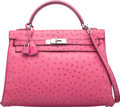 Luxury Accessories:Bags, Hermes 32cm Fuchsia Ostrich Kelly Bag with Palladium Hardware. I Square, 2005. Condition: 3. 12....