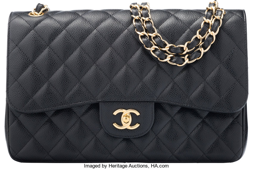 40364e85dafc ... Luxury Accessories:Bags, Chanel Black Quilted Caviar Leather Jumbo  Classic Double Flap Bagwith Gold ...