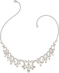 Estate Jewelry:Necklaces, Diamond, White Gold, Silver Convertible Necklace . ...