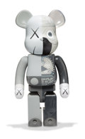 Fine Art - Sculpture, American:Contemporary (1950 to present), KAWS X BE@RBRICK. Dissected Companion 1000% (Grey), 2010.Painted cast vinyl. 28 x 13-1/4 x 9-1/2 inches (71.1 x 33.7 x ...