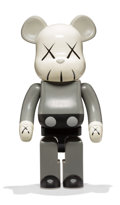 Fine Art - Sculpture, American:Contemporary (1950 to present), KAWS X BE@RBRICK. Companion 1000% (Grey), 2002. Painted castvinyl. 28 x 13-1/4 x 9-1/2 inches (71.1 x 33.7 x 24.1 cm) (...